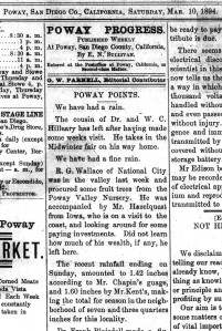 Poway Progress, page 1, March 10, 1894