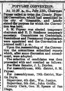 Poway Progress 1894 Populist Party